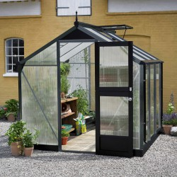 Serre Compact Nye 5m² anthracite en polycarbonate 6mm Juliana